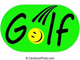 Golf logo with ball emoji on green background