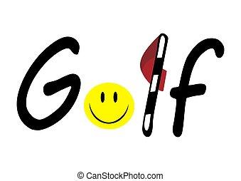 Golf logo with ball like emoji and red flag