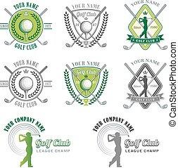 golf, logos, club, elegant