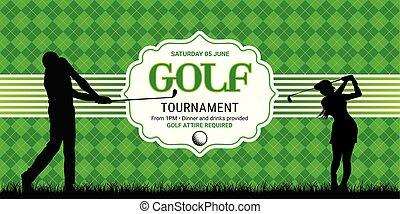 golf, mal, uitnodiging
