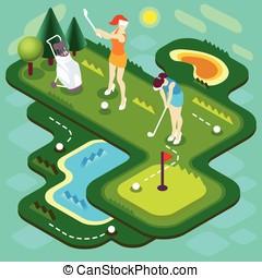 Golf Match People Isometric - Golf Sport Match Concept....