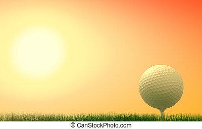 golf, mecz, na, zachód słońca