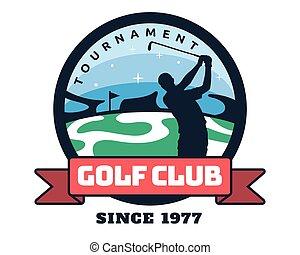 golf, moderne, badge, illustratie, logo