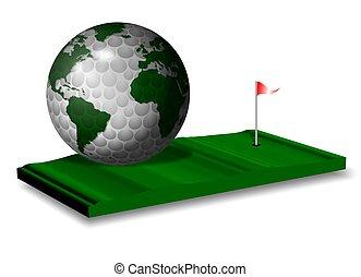 golf, mundo, juego