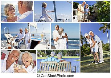 golf, navegación, y, montaje, gente, estilo de vida, 3º edad