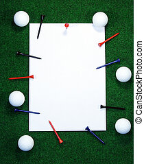 Golf note with pegs - Golf note with white message area with...