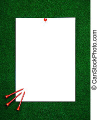 Golf note with pegs - Golf note with white message area and...