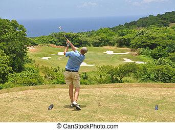 golf, océan