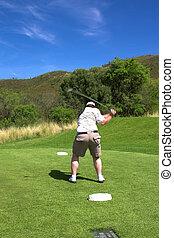 Golf on the tee box