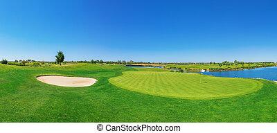 golf, panorama, exuberante, lake., curso, grass.