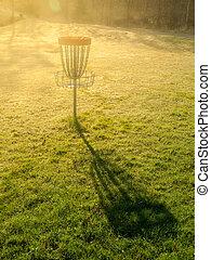golf, parc, automne, disque, panier, trou