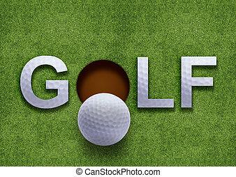 golf, pasto o césped, palabra, verde