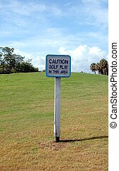 golf play area sign