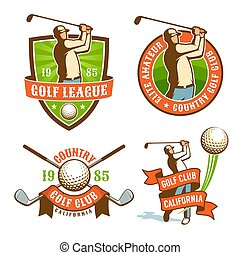 Golf play retro logo and badges set