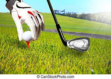 Golf play - Golfer in a green field