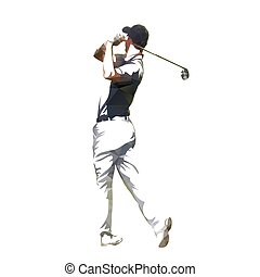 Golf player abstract geometrical vector silhouette
