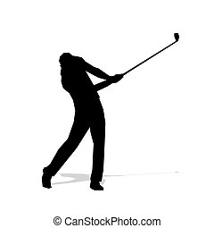 Golf player, abstract isolated vector silhouette