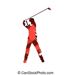 Golf player, abstract red vector silhouette