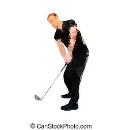 Golf player, abstract vector silhouette. Polygonal golfer