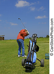 golf player and bag
