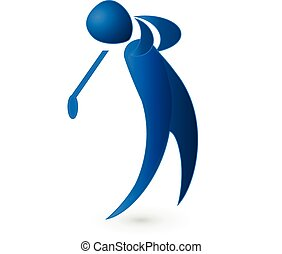 Golf player blue figure logo image vector icon