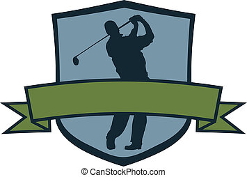 Golf Player Crest - Golf crest with blank banner.