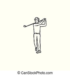 Golf player hand drawn outline doodle icon.