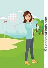 Golf player hitting the ball.