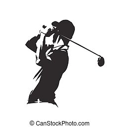 Golf player icon, golfer abstract vector silhouette