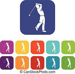Golf player icons set flat