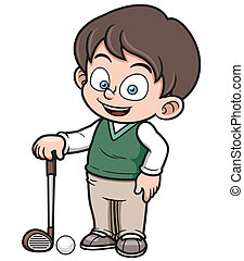 Golf player - Vector illustration of young golf player