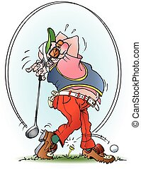 Golf player in a strike - Vector cartoon illustration of a ...