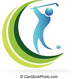 Golf swing icon / logo. Abstract outline of a golfer ...