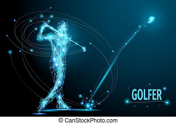 golf player poly - Golfer hits the ball in motion. Polygonal...
