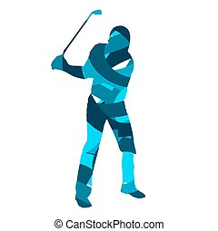 Golf player silhouette. Abstract blue golfer