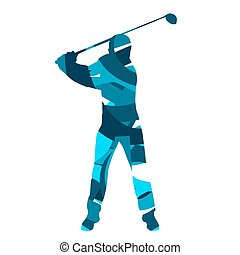 Golf player vector. Abstract blue golfer silhouette