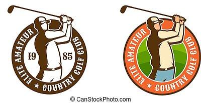 Golf player with club vintage sport emblem