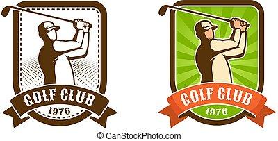 Golf player with stick retro sport emblem