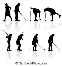 golf player woman black silhouette