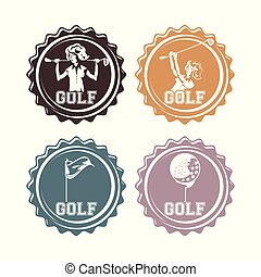 golf players seals stamps