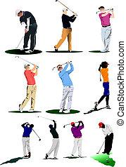 golf, players., vector, ilustración