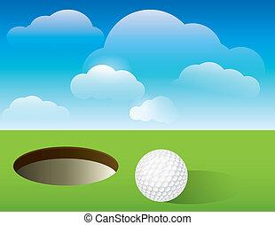 golf, poner verde, plano de fondo