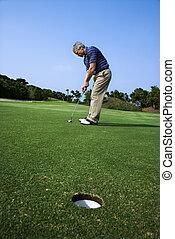 golf., poniendo, hombre