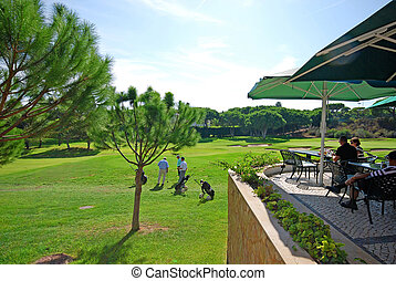 golf, portugal, club, curso, terraza, algarve