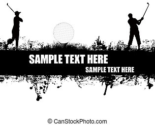 grunge golf poster with players and ball on black and white, vector illustration