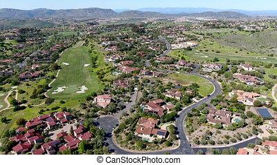 golf, privé, piscine, luxe, cours, localisé, communauté, grand, villa, suivant