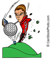 golf pro super-star - cartoon character of a young man tee-...