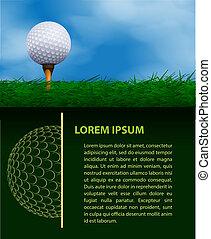 golf, projektować, szablon
