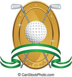 golf, récompense, ovale