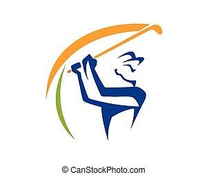 golf, símbolo, columpio